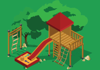 Rope ladder playground illustration - vector gratuit #418191