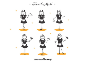 Cartoon French Maid - vector #418301 gratis