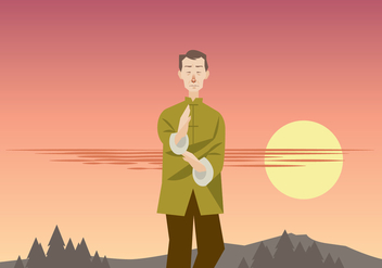 Wushu Master Practicing in the Afternoon Vector - Free vector #418371