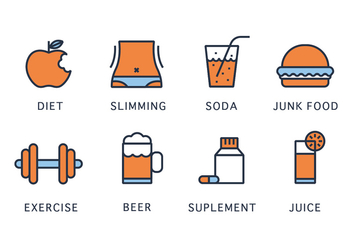 Health and Slimming Vector Icons - Free vector #418781