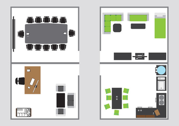 Top view for interior floorplan - vector gratuit #419311