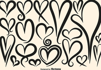 Collection Of Vector Hand Drawn Hearts - vector gratuit #419361