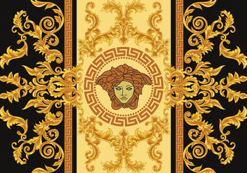 Modern Border Vector Illustration Versace Style with Gold Vintage Greek Key - Free vector #419491