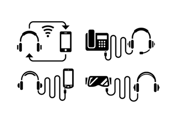Headphone Silhouette Icons - vector gratuit #419741