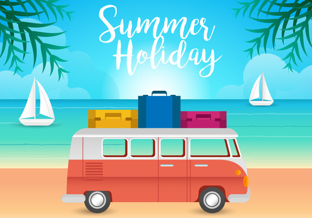 VW Camper and Beach Illustration Vectors - Free vector #420141