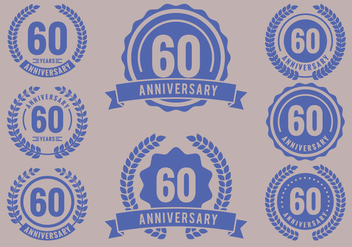 Anniversary Badges 60th Year Celebration - vector gratuit #420211