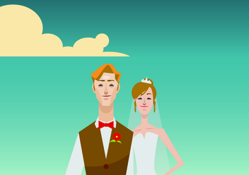 Portrait of Bride and Groom Illustration - Free vector #420771
