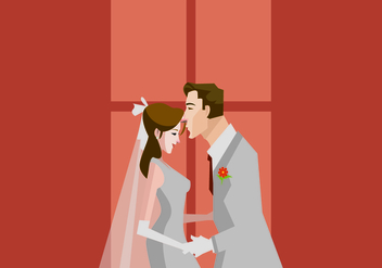 A Groom Kisses His Bride Illustration - Free vector #420781