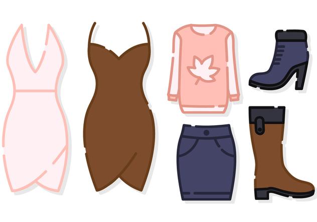 Cute Women Clothes Vector - бесплатный vector #421021