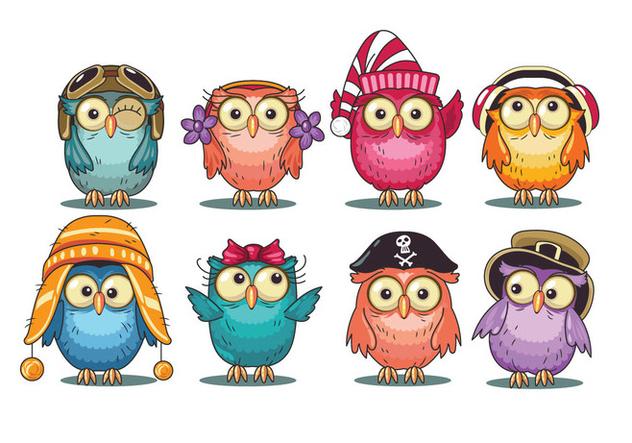 Cute Cartoon Owls Collection - Free vector #421311