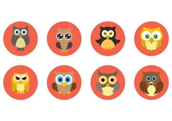 Free Cute Owl Icons Vector - Kostenloses vector #421341