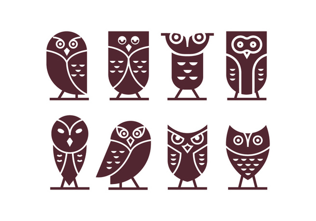 Dark Chocolate Brown Owl Vector Icons - Free vector #421671