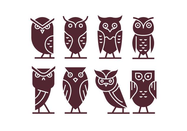 Set of Owl Icon Vectors - Free vector #421721