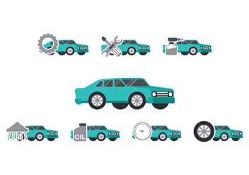 Teal Car Auto Body Icon Vectors - бесплатный vector #421791