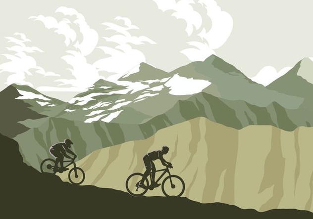 Mountain Bike Trail Vector - Free vector #421801