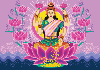 Vector Illustration of Goddess Lakshmi - vector gratuit #421821