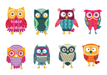Cute & Colorful Stylized Buho Owls - Free vector #421861