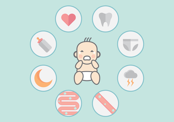 Crying Baby Infographic Vector - Free vector #422011