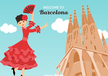 Welcome To Barcelona Vector Illustration - Kostenloses vector #422181