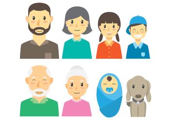 Cute Set of Familia Icons - Free vector #422391