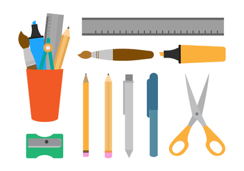Free Pen Holder and Stationary Vectors - vector #422511 gratis