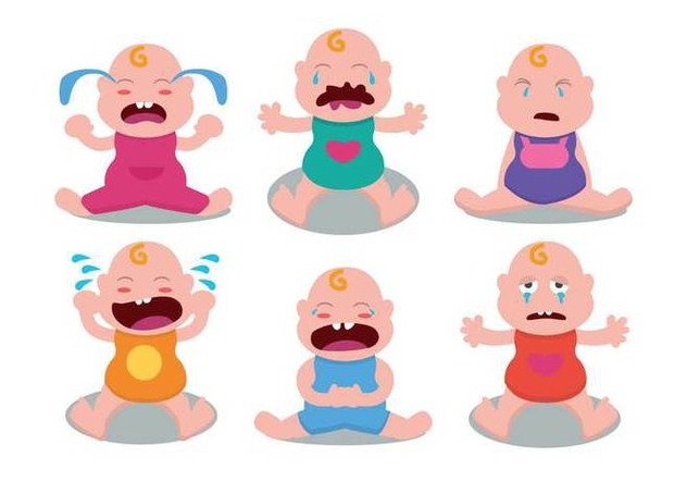 Cute Crying Baby Vector Set - Free vector #422531