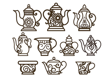 Decorative Teapot Vectors - бесплатный vector #422561