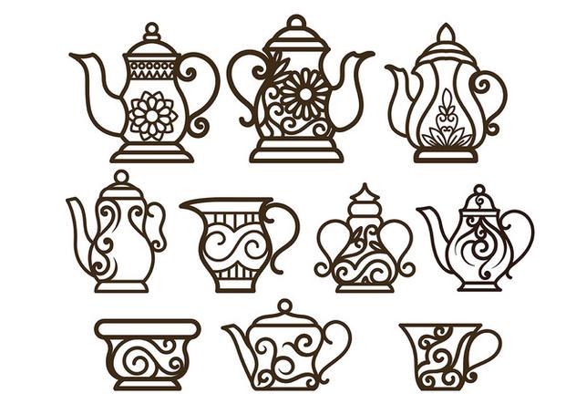 Decorative Teapot Vectors - vector #422561 gratis