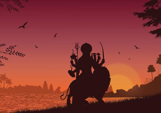 Durga Silhouette Free Vector - vector #422661 gratis