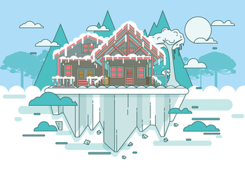 Snowy Chalet Landscape Vector - Free vector #423261