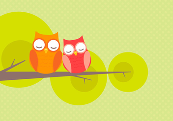 Cute Owl Couple Falling In Love Vector - Kostenloses vector #423321