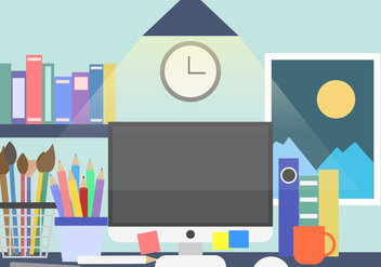 Creative Work Space Desk Vector Background - Free vector #423381