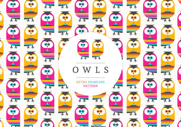 Retro Owls Seamless Vector Pattern - Free vector #423561