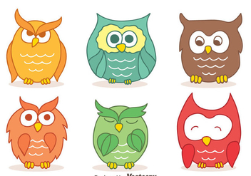Colors Hand Drawn Owl Collection Vectors - Kostenloses vector #423641