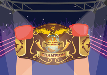 Boxer Winner Holding World Championship Belt Vector - vector gratuit #423901