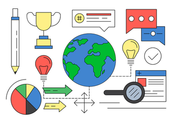Illustration of Global Entrepeneurship Elements in Vector - Free vector #423981