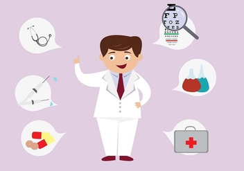 Cute Eye Doctor Character Vector - Kostenloses vector #424091