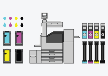 Cartridge Types And Copy Machine Vectors - vector #424121 gratis