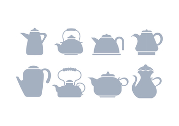 Grey Silhouette Teapot Icon Vectors - Free vector #424201
