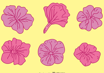 Purple Petunia Flowers Vectors - vector gratuit #424221