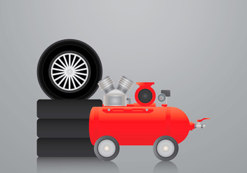 Realistic Air Pump and Tire Vector Illustration - Free vector #424591