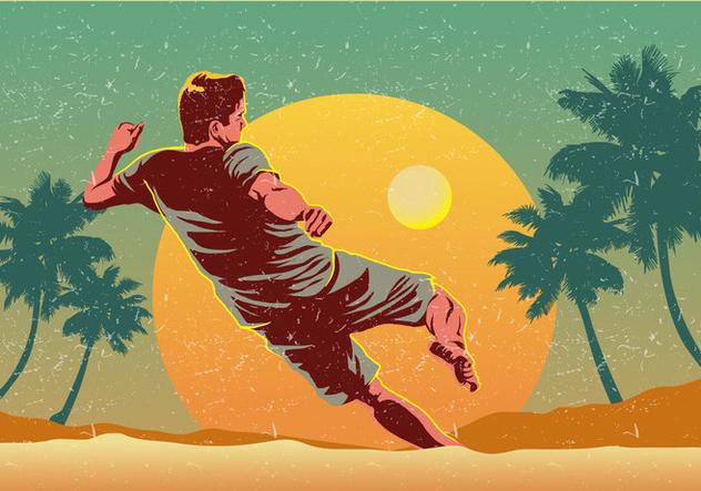 Beach Soccer Player Vector - Free vector #424641