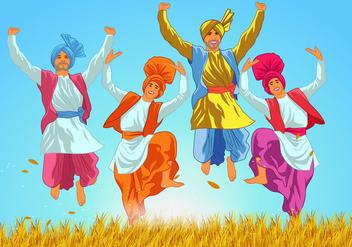 Classic Bhangra Dancers Vector - Kostenloses vector #424791