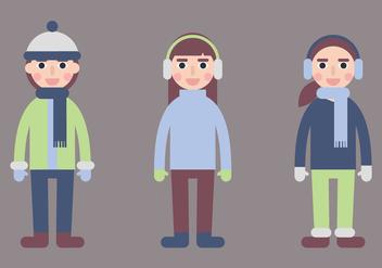 Kids in Winter Coat Vectors - Free vector #424961