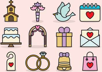 Cute Wedding Icons - vector #424971 gratis