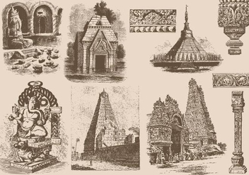 India Sculptures And Temples - vector gratuit #424991