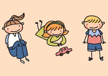 Cute Little Kid Vectors - Kostenloses vector #425031