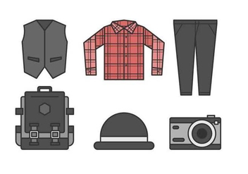 Free Sleek Hipster Men Outfits Vectors - бесплатный vector #425781