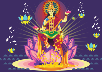 Free Dark Blue Goddess Lakshmi Vector - Free vector #426101