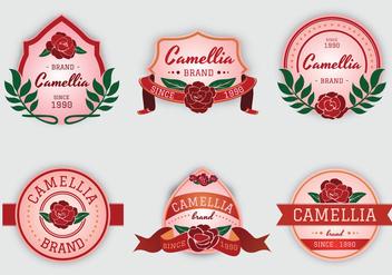 Camellia flowers pink label vector - Kostenloses vector #426111